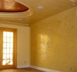 Venetian Plaster with Metallic Wax, Stucco Lamundo, Meoded Paint and Plaster