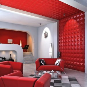 Red 3D-wall panels