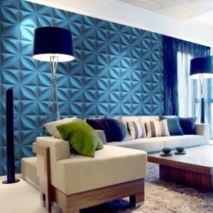 Blue 3D-wall panels